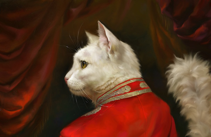 Creative Visual Art Portraits Of Cats Dressed As Royalty